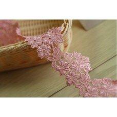 """Кружево """"Розовые цветы"""" 5,5 см"""