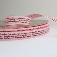 Атласная лента с прописью. Цвет розовый