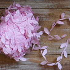 "Декоративная лента ""Листочки"" Цвет розовый."