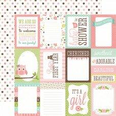 """Двусторонний лист бумаги 30*30 см """"Girl Journaling Cards"""""""