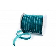 Вельветовая лента. Цвет темно-бирюзовый. 10 мм