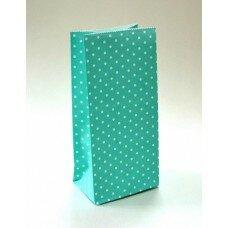 """Пакет подарочный в горошек. Цвет """"Тиффани"""""""