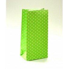 Пакет подарочный в горошек. Цвет зеленый.