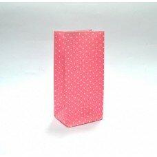 Пакет подарочный в горошек. Цвет розовый