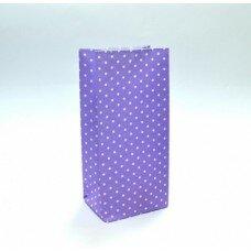 Пакет подарочный в горох. Цвет фиолетовый
