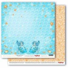 """Двусторонний лист бумаги 30*30 см """"Талисман моря. Сказки моря"""""""