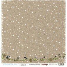 """Двусторонний лист бумаги 30*30 см """"Синички под снегом. Вкус зимы"""""""