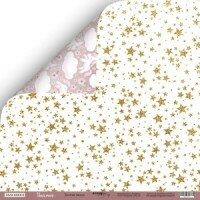 Лист двусторонней бумаги 30x30  Золотые Звёзды из коллекции Unicorns от Scrapmir